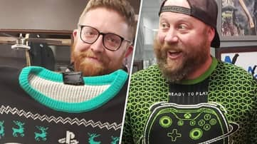 Sony Fanboy Buys Xbox-Loving Friend A PlayStation Christmas Jumper Just To Annoy Them
