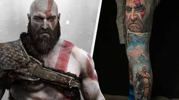 This 'God Of War' Leg Sleeve Tattoo Is An Incredible Piece Of Art