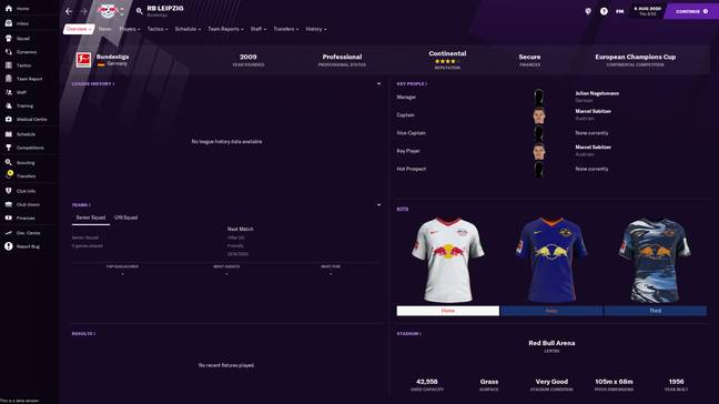 Football Manager 2021 RB Leipzig / Credit: Sports Interactive