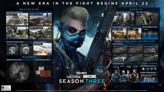 Call of Duty: Cold War and Warzone Season 3 Details // Credit: Activision