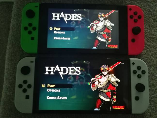 Hades title screen compared, with the OLED Model at the bottom / Credit: the author