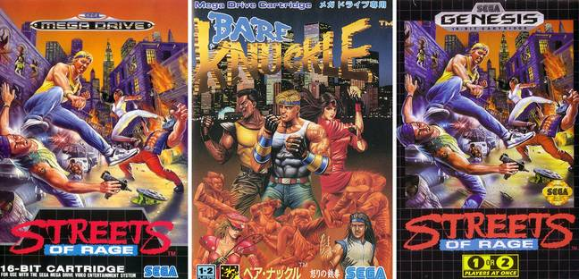 Streets of Rage, as it released in Europe, Japan and the US, left to right / Credit: SEGA