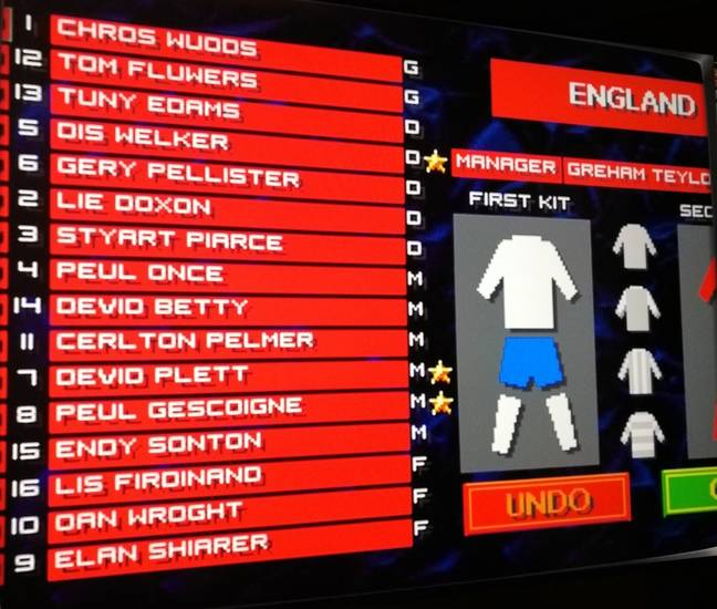 The England Squad of Sensible Soccer: European Champions / Credit: the author
