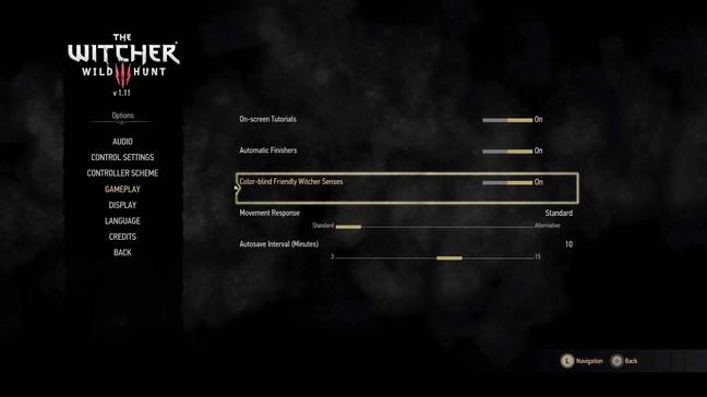 In addition to increased text size, 'The Witcher 3' also allows players to activate a colour-blind mode for Witcher senses / Credit: CD Projekt Red
