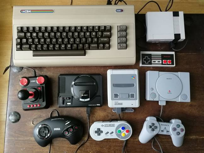 The C64 beside other retro mini-consoles / Credit: the author