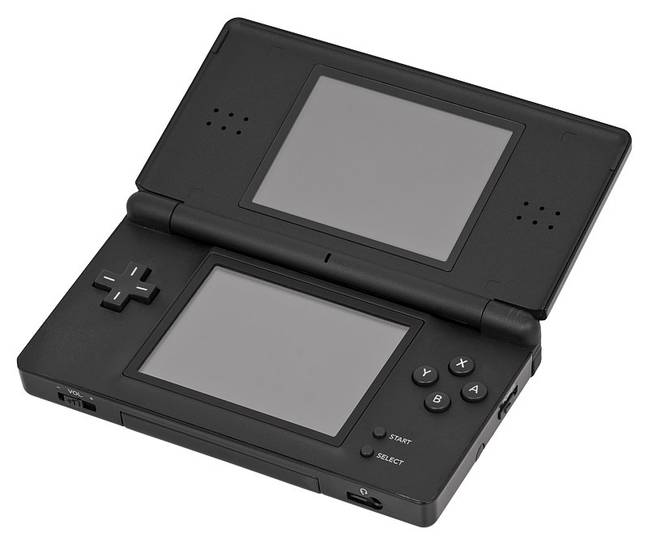 The Nintendo DS Lite, with its GBA slot visible on the bottom / Credit: Evan Amos