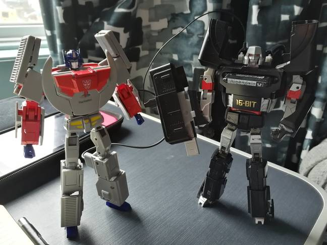 Both console bots, about to either battle or simply fall over