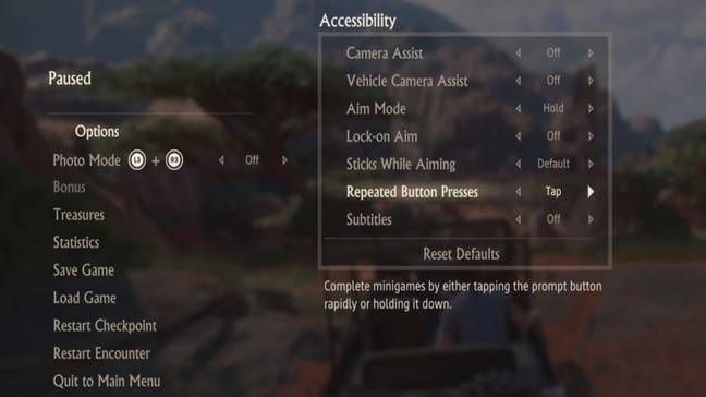 The accessibility options in 'Uncharted 4: A Thief's End' / Credit: Naughty Dog, Sony Computer Entertainment