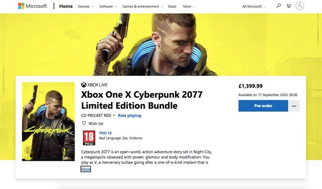 £1,399.99? Not sure about that / Credit: Microsoft, CD Projekt Red