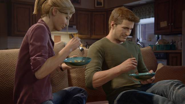 One of the 'tasks' in 'A Normal Life' is eating dinner next to Elena - be sure to pay attention to her talking about Bangkok, though / Credit: Sony Interactive Entertainment