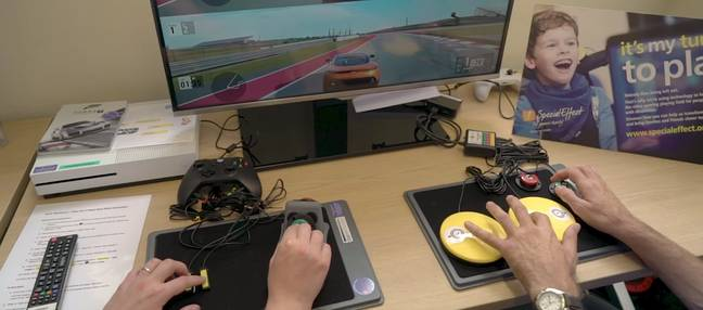 An example of specially made controllers at the British charity, Special Effect / Credit: Special Effect, UNILAD