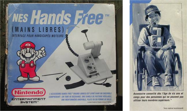 Promotional information and packaging (French) for the Nintendo Hands Free controller, which was never sold in stores / Credit: Nintendo