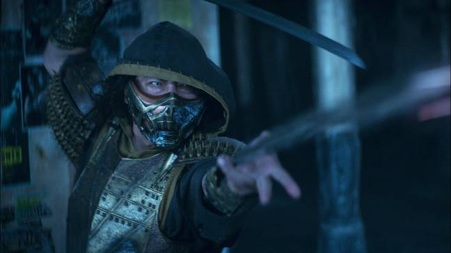 We see Scorpion use his trademark spear move in the 2021 film / Credit: Warner Bros. Pictures