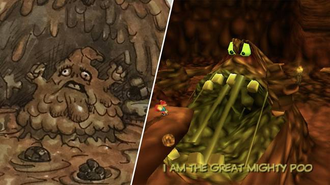 The game's infamous, opera-singing Great Mighty Poo boss, and related concept art