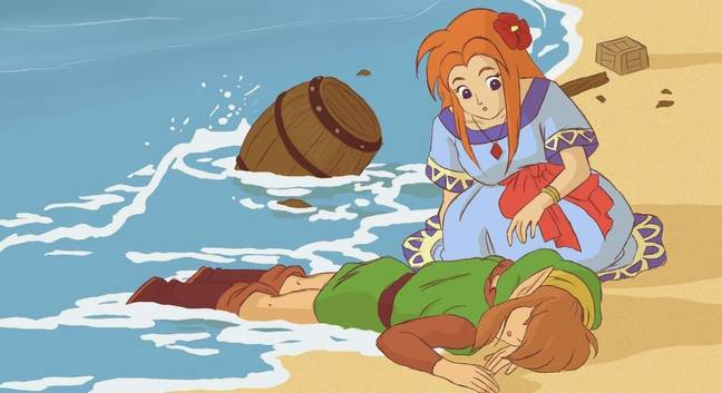 Link's Awakening artwork depicting Link and Marin