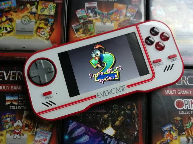The Evercade running Earthworm Jim 2 / Credit: the author