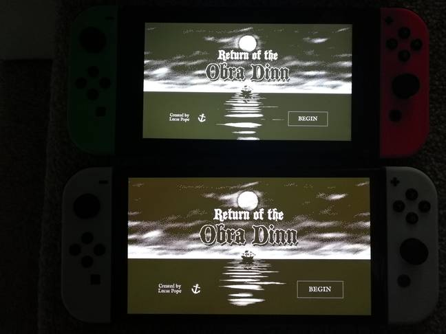 Using Return of the Obra Dinn for comparison, you can see how much darker the dark parts of the OLED screen are, below / Credit: the author