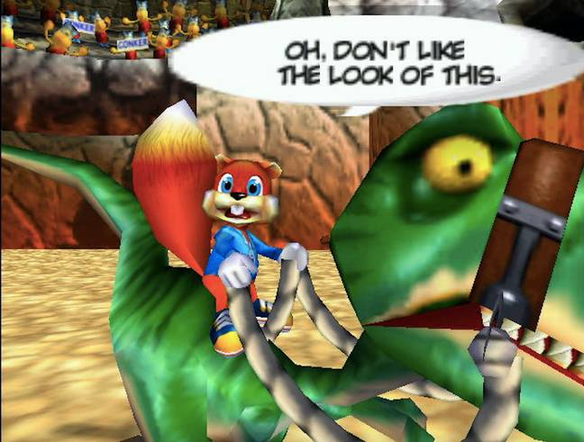 Conker riding on Fangy the Raptor