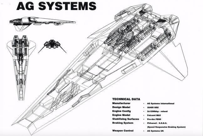 A design document for a WipEout racer / Credit: Nick Burcombe, Psygnosis, SCE