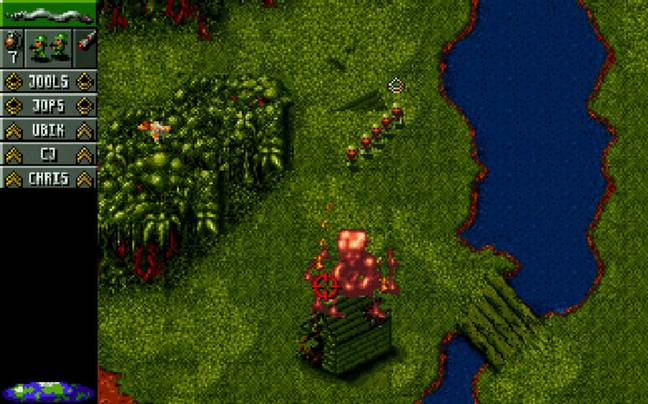 A screenshot from Cannon Fodder, showing the early game jungle stages / Credit: Virgin Interactive Entertainment (Europe), mobygames.com