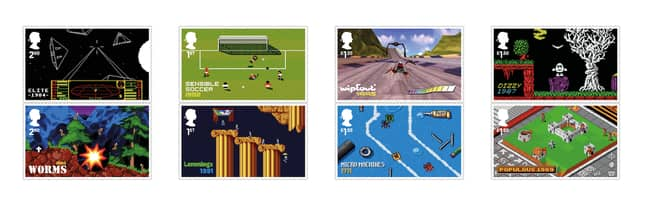 Eight of the gaming stamps available, featuring Elite, Dizzy, Worms and more