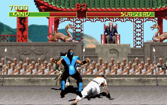 Kano sweeps Sub-Zero / Credit: Midway, Warner Bros. Interactive Entertainment