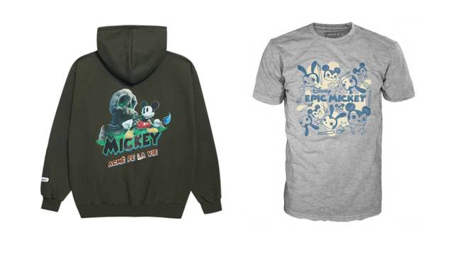 The Epic Mickey clothing / Credit: ADLV (hoodie), Funko POPs (t-shirt)