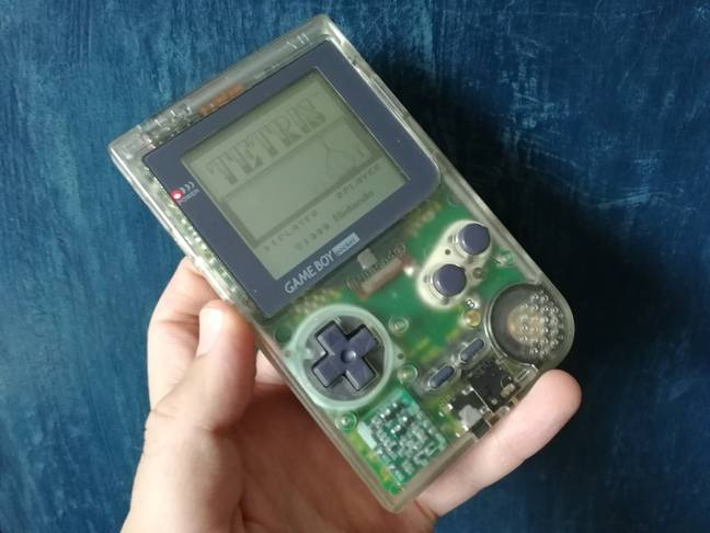 The author's own Game Boy Pocket, running Tetris