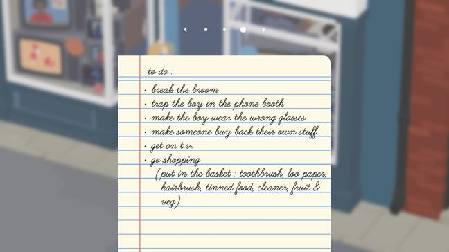 The default to-do list font in 'Untitled Goose Game' is hard to read for some players, but can be changed / Credit: House House