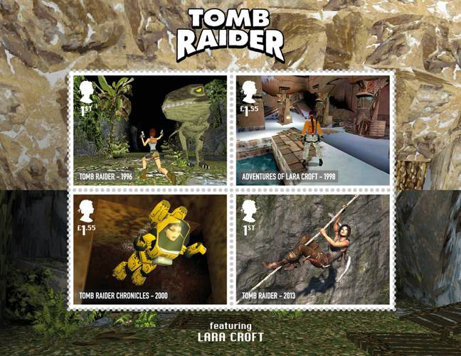 The four Tomb Raider stamps
