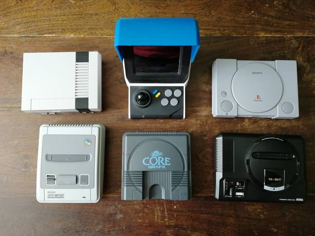 The PC Engine CoreGrafx Mini beside other mini-consoles / Credit: the author