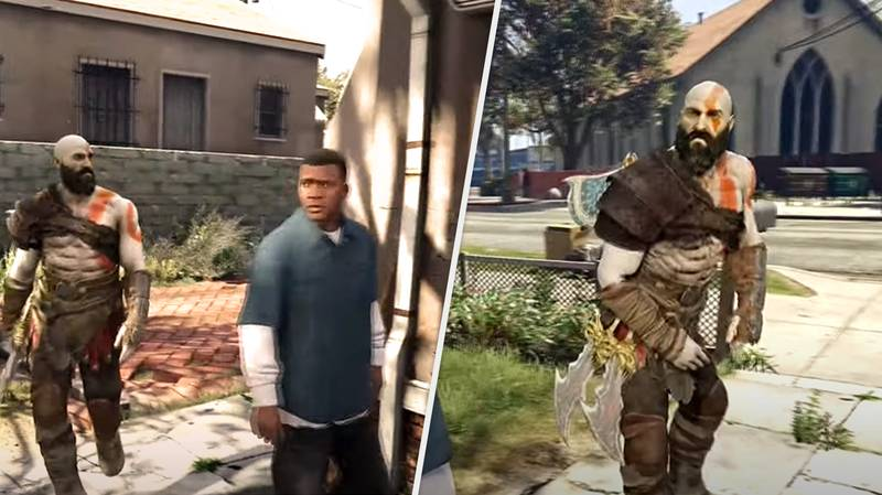 Kratos Roasting Franklin Is The GTA/God Of War Crossover I've Been Waiting For