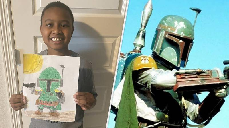 """Little Lad Draws Awesome Boba Fett Picture, Wants To """"Share It With The Internet"""""""